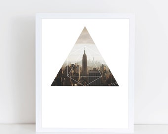 Empire State Building Art Print - Inspirational Downtown New York Wall Art, Manhattan Geometric Photography, Printable Skyscraper Poster