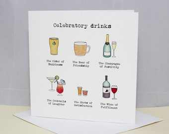 Greetings card - 'Celebratory drinks' card