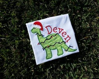 custom personalized christmas dinosaur dino shirt onesie