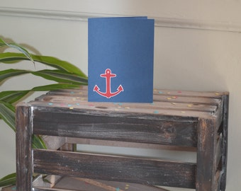 Anchor Card, Navy Blue Card, Nautical Card, Simple Anchor Card, Red, White and Blue Card, Sailing Card, Handmade Anchor Card, Nautical Blank
