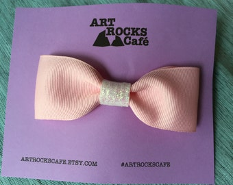 Pink hair bow with alligator clip