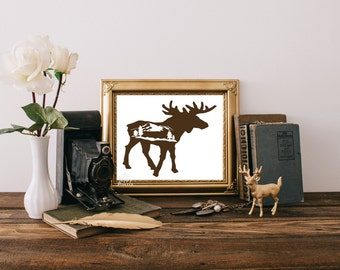 Moose Art Print Printable digital Instant Download moose silhoette with snowcapped mountains and pine trees