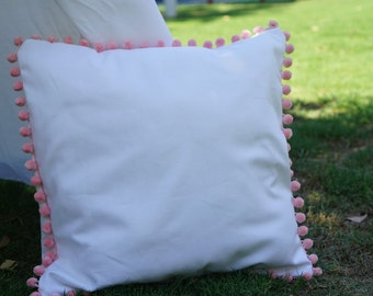 Pink Pompom pillow cover with white canvas