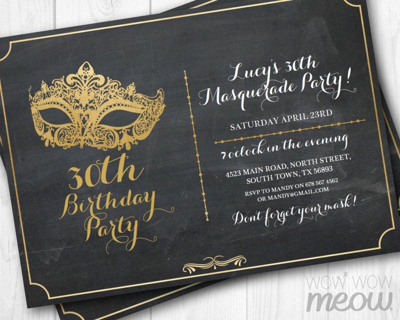 MASQUERADE Party Gold Mask Invitation Elegant Birthday Invite – Mask Invitations Masquerade Party