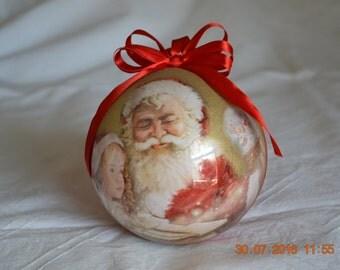 "Decoupage Christmas Ball/Xmas tree decoration-Christmas bauble ornamented hand-decorated ""Wonder"""