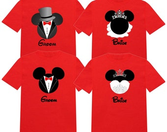 BRIDE and GROOM WEDDING Mickey Disney Vacation Group Shirts