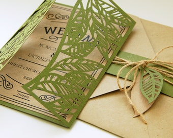 Bride & Groom Leaves Leaf rustic botanic eco wedding card COVER Invitation 5x7 ( svg, dxf, ai, eps, png) laser cut Stencils Digital Download