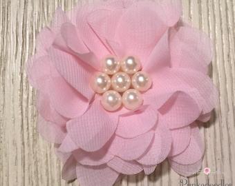 """Pink Chiffon Flower Hair Clip- 2.5"""" Hair Clip"""