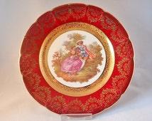 """La Reine Limoges Fragonard Burgundy and Gold Cabinet Plate – 8.7"""""""