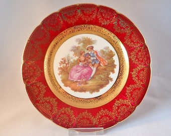 La Reine Limoges Fragonard Burgundy and Gold Cabinet Plate – 8.7""