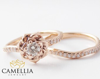 14K Rose Gold Diamond Engagement Ring Set Rose Gold Flower Ring Flower Engagement Ring