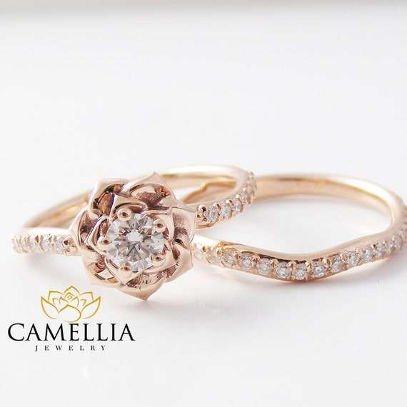 14k rose gold diamond engagement ring set rose gold flower. Black Bedroom Furniture Sets. Home Design Ideas