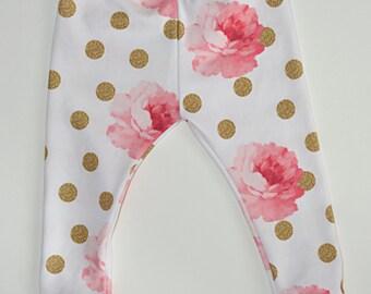 baby girl leggings, organic cotton leggings, flower print leggings, newborn leggings, toddler leggings