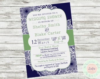 Navy green wedding invitation Etsy