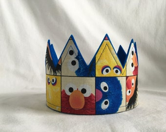 Sesame Street Crown, Blue,Sesame Street Birthday Party Crown, Sesame Street Birthday Party Hat, Big Bird Crown, Cookie Monster Crown,