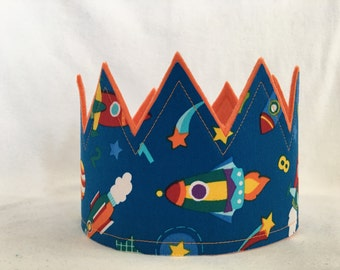 Boys rocket birthday crown, Rocket ship birthday hat, Spaceship Crown, Outer space party hat, Spaceship party Hat, Outer space birthday