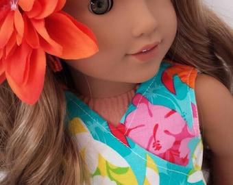 "Custom Sea turtle dress fits American girl doll Lea 18"" dolls"
