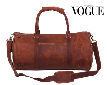 Leather weekend bag - Leather duffle bag - overnight bag - gym bag - holdall in Vintage Brown by MAHI Leather