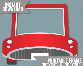 Car Frame Prop, Printable red car photo booth frame, kid's birthday party phootbooth frame, car prop printable, instant download