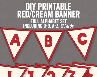 DIY Retro Red and Cream Bunting Printable, 1950s style bunting, red happy birthday retro banner, diy bunting 1950s party decor, instant