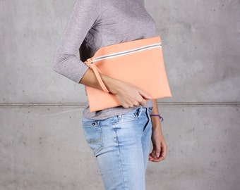 Baobag Peach, Eco Leather Big Peach Clutch, Peach Handbag, Vegan Peach Bag with creamy zipper