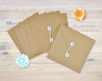 10 square String Kraft Paper Envelopes Brown Recycled