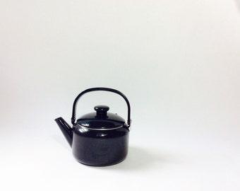 Vintage enamel teapot black enamel teapot enamelware teapot vintage black teapot vintage teapot blue vintage enamel kettle black kettle