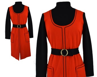 Vintage Dress, 1960s Dress, 60s Dress, Red and Black Mod Dress, Color Block Dress, 60s Mod Dress, Vintage Shift Dress, Sheath Dress, Medium