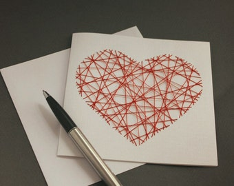 Threaded Red Heart Valentines Card - Love