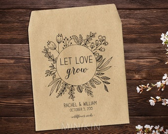 Wedding Seed Packets, Rustic Wedding Favor, Seed Packet Favor, Wedding Favors, Let Love Grow Favor, Personalized Favor, Seed Favor x 25
