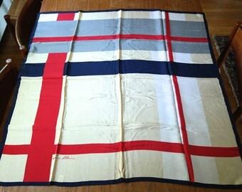 Free US Shipping Vintage Anne Klein Silk Crepe Scarf Vera Companies Beige Red Navy Gray White Geometric  All Silk Tout Soie