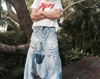 Vintage 70's 80's drop crotch distressed recycled denim jeans