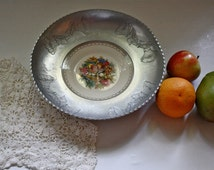 Vintage 1950s AMERICAN LIMOGES China Plate, Triumph white gold warranted 22-k, Wrought Faberware Aluminum Bowl, Wall Decor,