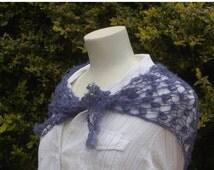 Autumn Sale: Wool triangle lace shawl wrap; handknitted bramble stitch shawl in blue