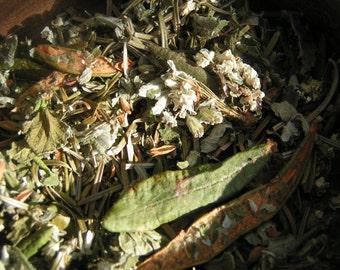 Tisane Du Sourcier 35g, calmante, antivirale, antioxydant, plantes du Québec/Du Sourcier tea 35g, calming, antiviral, plants of Quebec