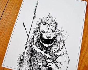 "Hunter II - Illustration, 8"" x 10"" print"