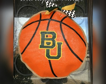 Hand-Painted Basketball Burlap Door Hanger