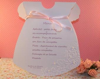Menu in the form of dress embossed for your table decoration