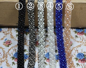 Dress Decorative Beaded Lace Trim Supplies 1cm 1.5cm Width Lace Crafting
