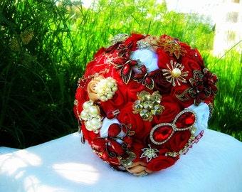 RED brooch BOUQUET, wedding bouquet, bridal bouquet, bridesmaids bouquets, wedding decor, brooch decor, brooch accessories, white wedding
