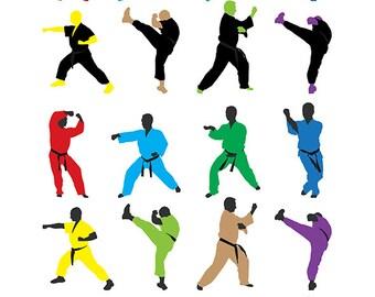 Karate clip art ,36 high resolution png martial arts clip art , Instant Download, Karate do clip art ,sport clip art