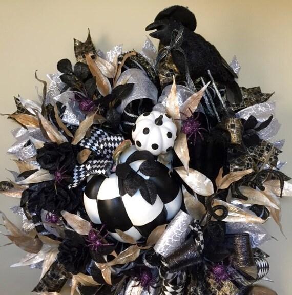 Black Flower And Crow Halloween Wreath: Black Raven Crow Wreath Halloween Pumpkin Wreath Black White