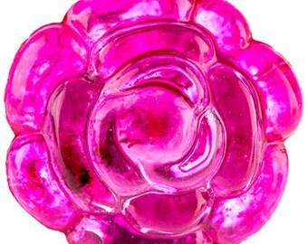 New set of 6 Pink Rose Flower Knobs Pulls