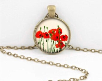 Necklace poppy flowers of flower nostalgia