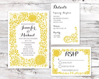 Wedding Invitation Sample- Floral Mustard Suite
