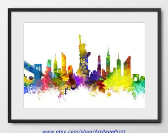 New York Skyline, New York Print, NYC Print, New York  City Watercolor Art Home Decor New York Colorful New York Poster (A0379)