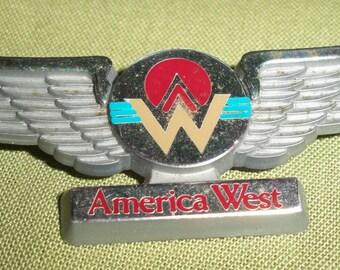America West Plastic Wings Pin Vintage