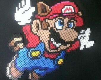 "Giant super Mario bros 3 pixel art bead sprite 12"" raccoon mario"