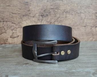 Belt , Mens Leather Belt ,Top Gain Belt , Durable Cowhide Belt , Blackish Brown