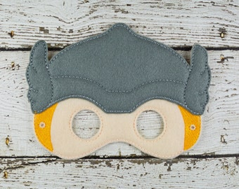 God of Thunder Mask Children's Felt Mask  - Costume - Theater - Dress Up - Halloween - Face Mask - Pretend Play - Party Favor